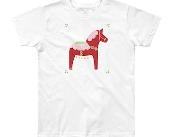 Youth Valentine Dala Horse Short Sleeve T-Shirt