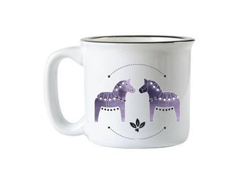 Purple Dala Horse Campfire Mug