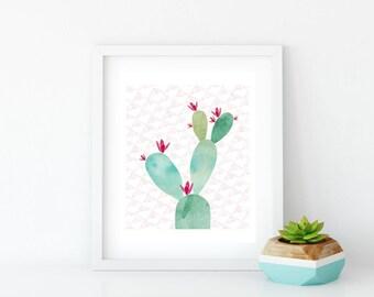 Watercolor Prickly Pear Cactus Art Print, Instant Digital Download