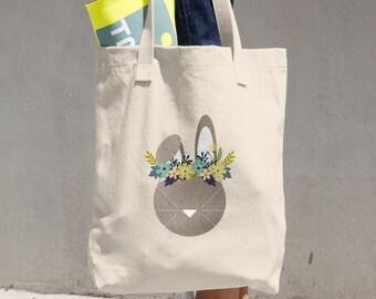 Spring Hare Cotton Tote Bag, Reusable Tote, Reusable Bag, Cloth Bag, bunny, flowers, floral, rabbit