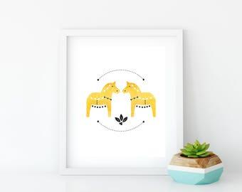 Yellow Dala Horse Art Print, Instant Digital Download