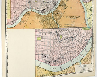 1910 Map of the City of Cincinnati, Ohio and Environs Large Cartography Map Double Page Full Color Railroads, Harbor, Main Lines Rare
