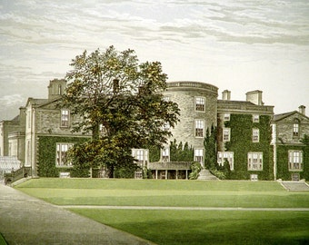Elton Hall Near Northamptonshire United Kingdom 1880 Vintage Antique Castle Lithograph English Landscape England Wall Art Decor Print