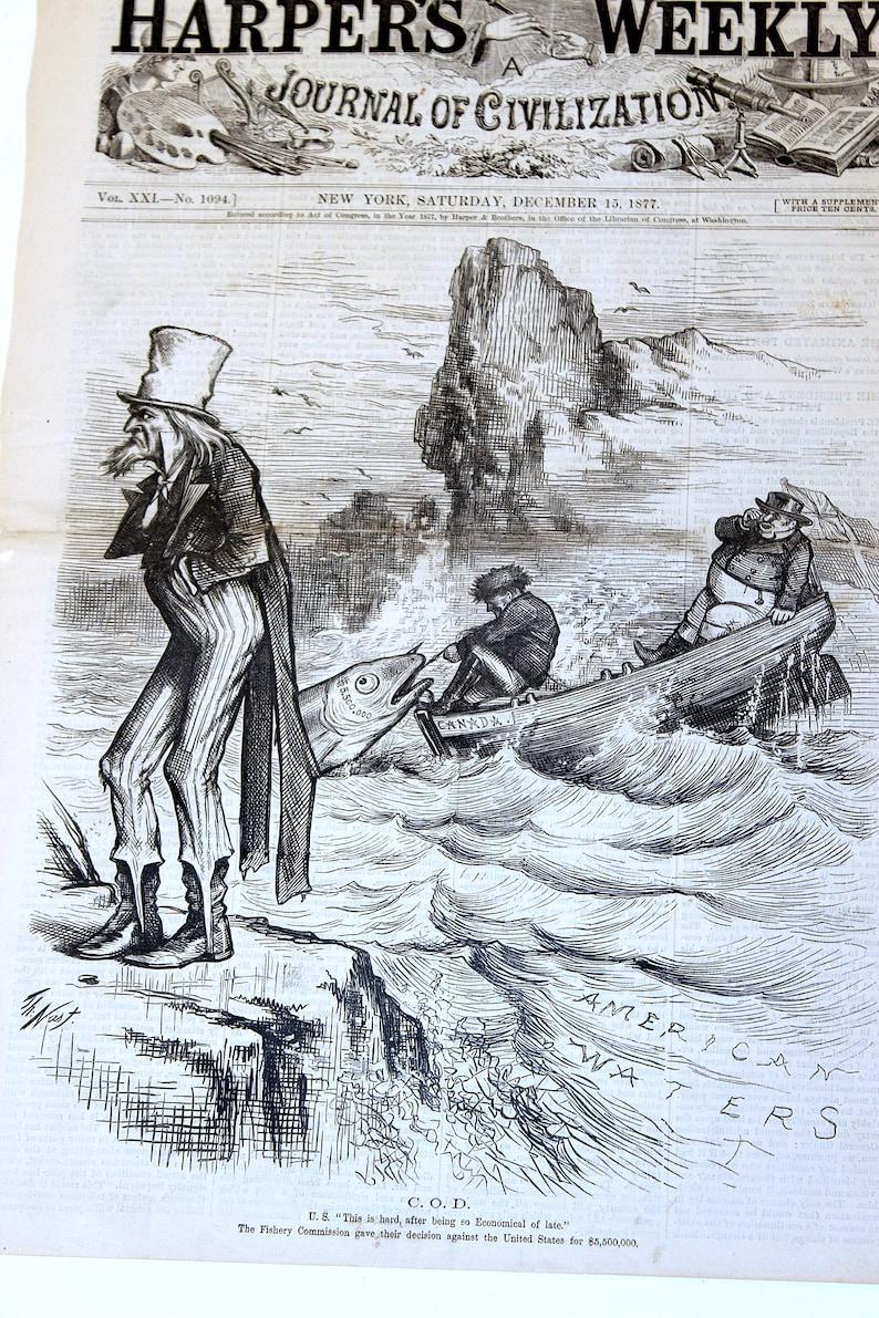 1877 THOMAS NAST Large Political Satire Print Uncle Sam Canada Fish Dispute Double Page Woodblock Print Engraving Vintage Antique Dec 15