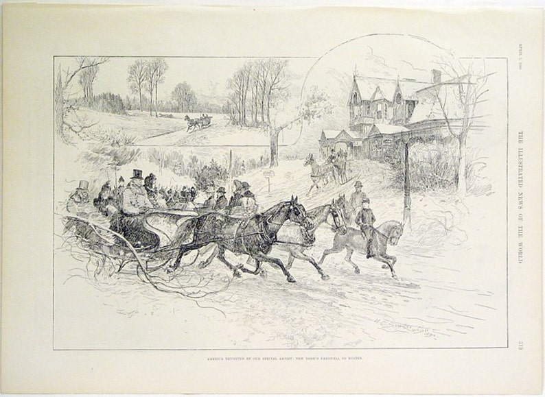 New York/'s Farewell To Winter by H.C.S Wright Original Engraved Woodblock Print from 1890 America Revisited By Our Special Artist