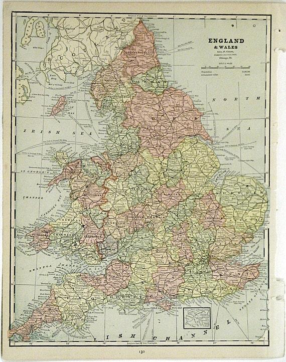 1890 England Wales Europe Atlas Map Original Antique Map Etsy