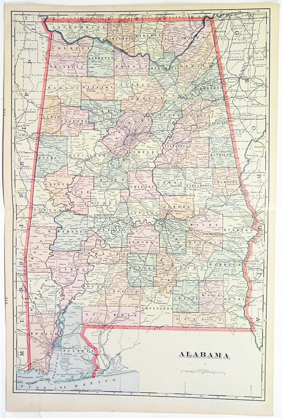 Original 1890 Map of The State Of Alabama by George F. Cram Large Color  Atlas Map Showing Cities and Counties Wall Art Decor Display Print