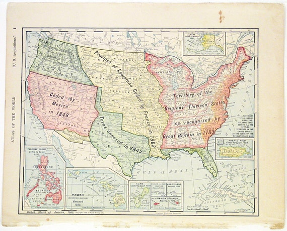 Original 1900 Color Atlas Map of The United States by Rand   Etsy