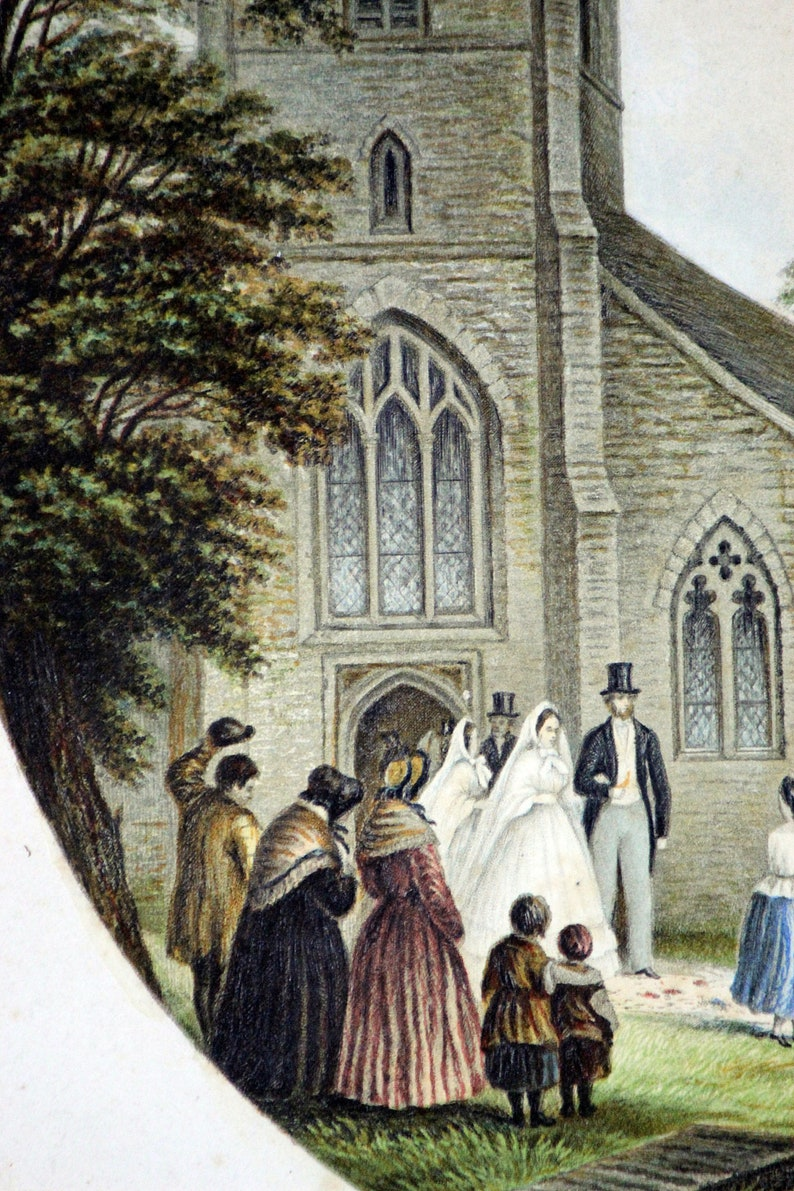 Circa 1875 Original Baxter Society Color Chromolithograph Oval Print Wedding Day Le Blond Co. Printed in London  NY 6 34 x 5 14