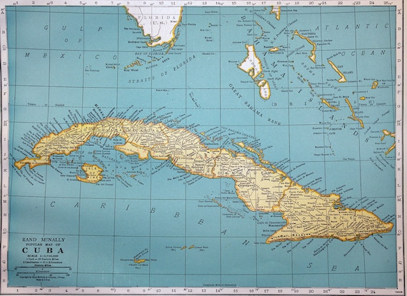 Cuba South America United States Vintage Atlas Map Original Color  Lithograph Maps Wonderful Display Wall Art Print Wall Decor Home Picture