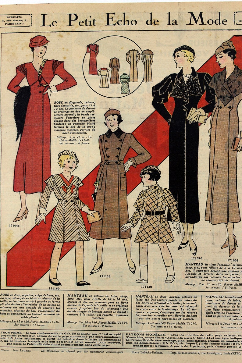 1933 French Fashion Color Plate Print from Le Petit Echo de la Mode Magazine for November 1933 Beautiful Fashion DressModel Clothes #27