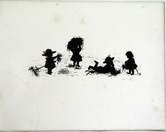 1877 B/W Silhouette Illustration of Children Playing in the Hay Wonderful Book Page Engraving For MAY with Poem by James Russell Lowell !