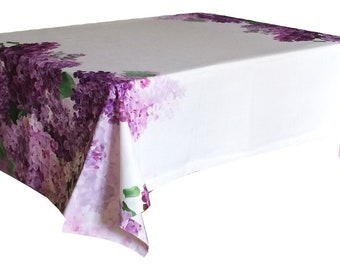 Superbe Cotton Tablecloth Table Linens   Lilac Flowers   Scandinavian Fabric