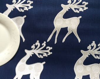 Scandinavian Cotton fabric  Tablecloth Christmas Moose - Table Linens - Table runner - Tablecloth - Navy Blue/Silver