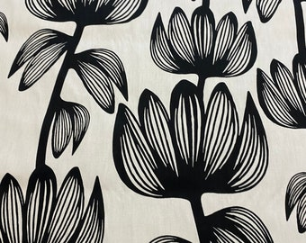 Scandinavian Cotton fabric White and Black Floral fabric Cotton canvas -  59 inches (150 cm) wide