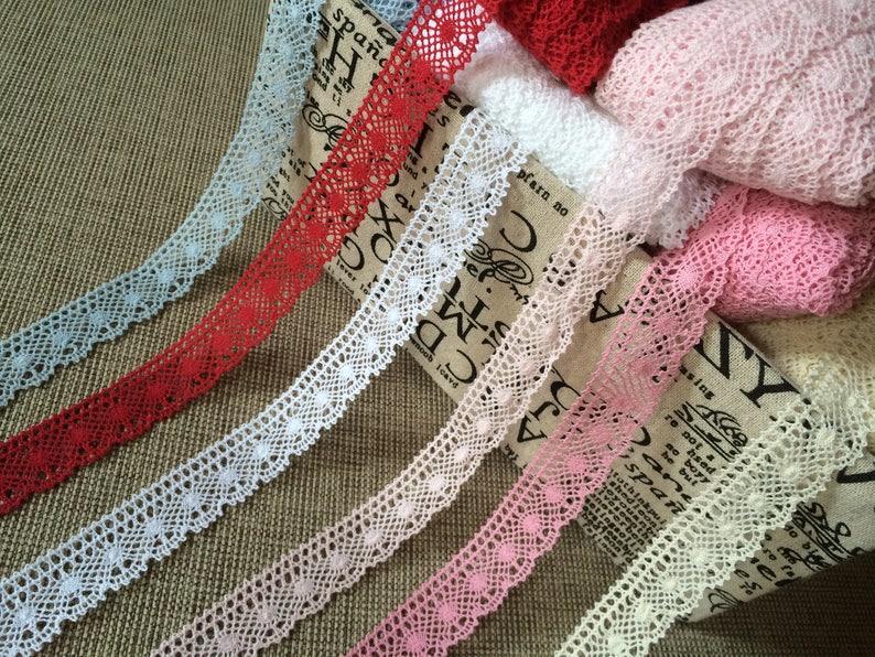 White Cotton Lace Trim  100% Cotton  0.98 25 mm  image 0