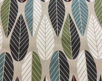Swedish Cotton fabric Scandinavian design Geometric Leaf print Home decor fabric