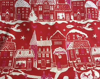 Scandinavian Cotton fabric  Tablecloth Christmas Fairytale - Table Linens - Table runner - Tablecloth - RED