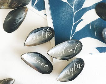 Shell Beach Destination Wedding Escort Place Cards Calligraphy on Mussel Shells