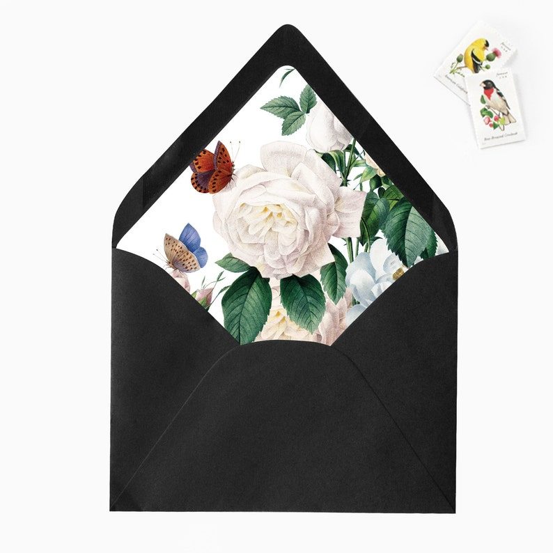 White Blush Butterfly Floral Flower Leaves Envelope Liners DIY Printable Garden Wedding Invitations