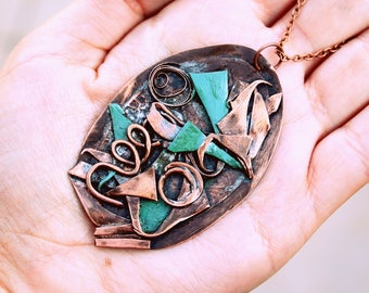 Turquoise Boho necklace Statement necklace Bohemian necklace Turquoise pendant Unique necklace Bohemia Christmas gift Copper metal necklace