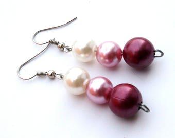 Burgundy earrings Dangle earrings Burgundy silver white earrings Elegant white pearls earrings Elegant earrings Unique earrings Gift for her