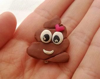 Poop pin Poop emoji lover gift Cute pins Poop pins Polymer clay pins Polymer clay poop Gift for her Gift for friend Poop emoji Gift Unique