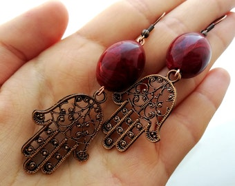 Hamsa earrings Burgundy Hamsa earrings Dangle earrings Gift For Her Psychedelic earrings Copper earring Birthday gift Psychedelic jewelry