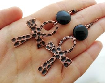 Ankh earrings Ankh dangle earrings Copper onyx earrings Gift For Her Tribal earrings Gypsy earring Birthday gift Tribal copper onyx earrings