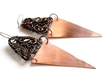 Copper earrings Unique earrings Wire wrapped earrings Contemporary earrings Boho earrings Gypsy earrings Copper wire earrings Modern earring