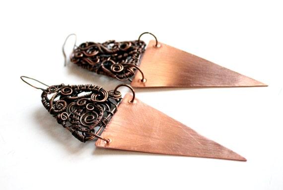 Kupfer Ohrringe einzigartige Ohrringe Draht gewickelt Ohrringe