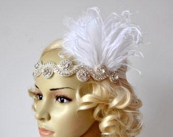 The Great Gatsby,20's flapper Headpiece, Vintage Inspired, Bridal 1920s Headpiece ,1930's, Rhinestone headband, Rhinestone flapper headpiece