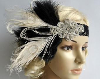 Flapper Lace Rhinestone Feather Headband, 1920's,Feather, Lace flapper costume, black, silver, Great Gatsby Headpiece Headband