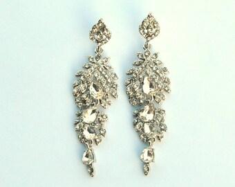 ERICA Chandelier Earrings, Crystal Earrings, Crystal Earrings, Bridal Jewelry, Crystal Wedding Earrings ,Long Great Gatsby 1920s earrings