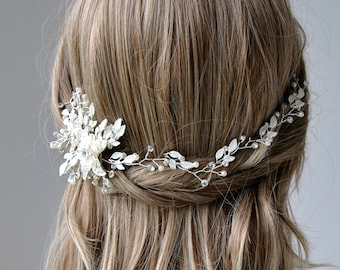 Crystal Hair Vine BETTY, Bridal Headpiece ,Boho Leaf Bridal Hair Vine, Wedding Pearl Hair Vine, Boho Wedding Headpiece, wedding headpiece