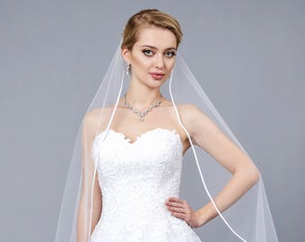 Feality Wedding Veil Satin Trim 2 Tier Ivory Short Bridal Veil Fingertip Length with Ribbon Edge for Brides White