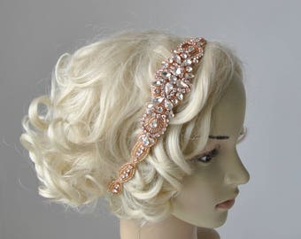 Long Rose Gold  Bridal Headband Crystal Rhinestone Wedding Headband Headpiece Rose Gold Bridal Flapper 1920s Great Gatsby Headband Headpiece