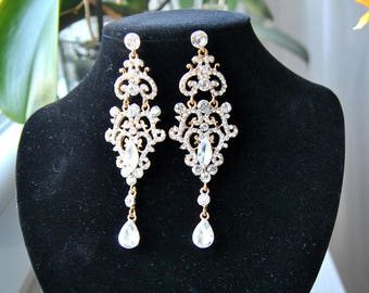 Gold Chandelier CHRISSY Vintage Crystal Bridal Earrings Long Bridal Victorian Earrings Wedding Jewelry drop wedding bridal Earrings
