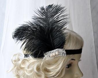 The Great Gatsby 20's  Pearls flapper Headpiece, Vintage Inspired, Bridal 1920s Headpiece Rhinestone headband bridesmaid flapper headpiece