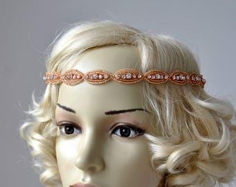 Rose Gold Thin Rhinestone Headband Bridal Wedding Headband Great Gatsby Flapper 1920s headpiece Headband Tio On, Bridesmaid Headpiece