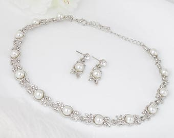Bridal Pearls Jewelry Set LILLIAN Wedding Jewelry Sets for Brides Chandelier Necklace Earrings Set Drop Crystal Jewelry Vintage Bridesmaids