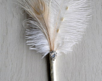 Wedding Ostrich Feather Pen Ivory Feather Pen Wedding Signing Great Gatsby alternative Guest Book Pen Wedding Reception Accessories ceremony