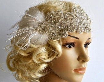 Flapper Rhinestone Gatsby Headband Gatsby Wedding hairpiece Rhinestone Great Gatsby Crystal Headband Bridal Headpiece 1920s Flapper headband