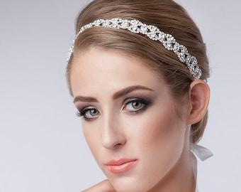 Rhinestone Headband, Bridal Wedding Headpiece Crystal Headband, Wedding Halo Bridal tie on ribbon Headband Headpiece, 1920s Flapper headband