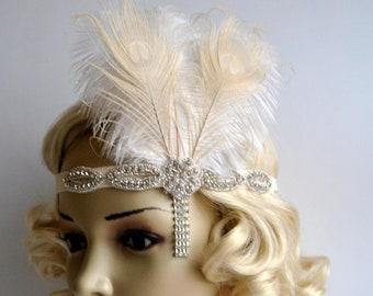 Ivory Peacock 1920s headpiece,rhinestone flapper headband Headpiece, The Great Gatsby, rhinestones headband, rhinestone feather headpiece