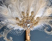 Gold Bridal brooch Bouquet Ostrich Big alternative Feather Fan Bridal Bouquet Ivory Great Gatsby 1902s art deco wedding Roaring 20's bouquet