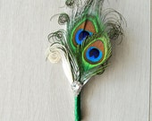 Groom Wedding Boutonniere Ostrich Feather Bridal Ivory Green Great Gatsby 1920s groomsmen boutonnire Bridal groom boutonniere button hole