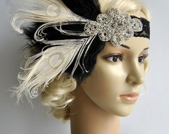 Flapper Lace Rhinestone Feather Headband 7c2963dfe64