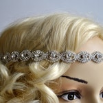 Rhinestone Headband hairpiece Great Gatsby Headband,Crystal Wedding Halo Bridal tie on ribbon Headband Headpiece, 1920s Flapper headband