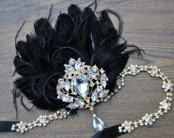 Gatsby Vintage Inspired Headband, The Great Gatsby 1920s headpiece, Flapper Feather Headband, 1920's, Gold, Black ,rhinestone